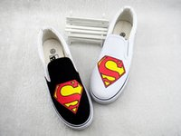 animal hand signs - Hand painted Canvas Cartoon Shoes Superman Black White Sign Graffiti Handpainted Shoes Low Sneakers Loafers Men Women Shoes Cheap Sale
