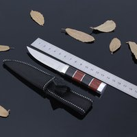 Wholesale Small Straight knifeTactical Camping Survival Knife HRC CR13 Blade Color Wood Copper Handle outdoor sport kinfe