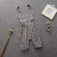 Wholesale newborn baby girls plaid rompers cotton suspenders pants beach jumpsuits sleeveless dungaree flower overalls BH2194