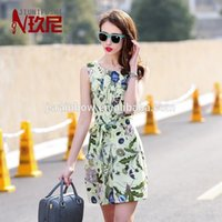 Wholesale 2015 elegant design silk dress with morning glory pattern