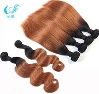 auburn hair dye - Malaysian Peruvian Indian European Brazilian Hair Straight Body Wave Omber Color b Medium Auburn Human Hair Weaves Two Tones Weft