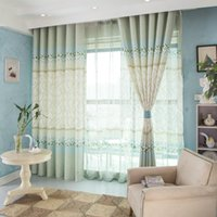 Wholesale Newfashion cotton linen Pastoral pure and fresh High class european style green jacquard blackout curtains Living Room Bedroom MD0013