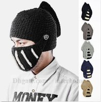 adjustable riding hat - Unisex Roman Knight Helmet Beanie Handmade Knitted Beanie Winter Wool Hat Stunning Fashion Crochet Hat Riding Outdoor Mask Skull Caps B918