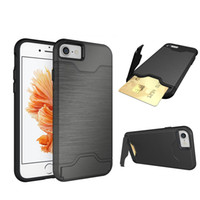 Cheap New metallochrome 2 in 1 TPU + PC extreme Shockproof protect credit card slot cell phone case cover for iphone 6 6s plus with kickstand