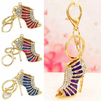 Wholesale Crystal Shoe High Heel Keyring Rhinestone Purse Charm Pendant Bag Key Chain Gift