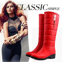 Wholesale 2016 Winter Hot Super warm snow boots fashion platform fur thigh knee high boots warm winter boots for women shoes Black and Red Waterproof