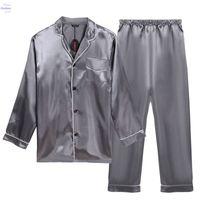 mens sleepwear - Summer Mens Sexy Sleepwear Pajama Sets Satin Top And Pants Single Breasted V Neck Pyjamas Men Pijama Hombre AM