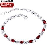 amethyst wine - Combustible volcano silver bracelet female high end wine Red Garnet Bracelet Fashion Crystal Bracelet
