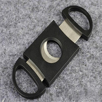 Wholesale New Black Plastic Stainless Steel Double Blades Cigar Cutter Knife Scissors Tobacco Pocket Cigar Accessories B0181