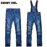 Wholesale Ski pants female models Korean winter outdoor veneer double board waterproof ski pants denim thickening warm genuine mail