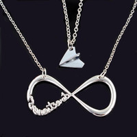airplane party bags - One Direction Necklace Silver Plated Infinity Necklace and Airplane Necklace with Gift Bag