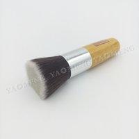 high quality cosmetics makeup - High Quality Flat Top Bamboo Handle Powder Foundation Brushes Cosmetics Professional Makeup Brush Set Hairbrush