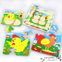 baby rooster - 2016 Wooden Toys Multilayer Wooden Jigsaw Baby Early Education Puzzle Toys Farm Animal Fruit Tree Rooster Growing Story Children Kids Gift