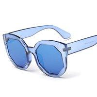 Al por mayor-Nuevos colores del caramelo de la vendimia claras las gafas de sol de espejo marco de las mujeres transparentes octágono vidrios de sol de las señoras del partido UV400 Gafas de sol