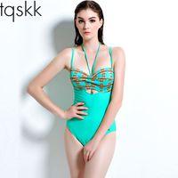 big bra shop - 2016 New Sexy Print Big Women One Piece Swimsuit Strap Monokini Bodysuit Push up Padded Bra Swimwear Bathing Suit free shopping