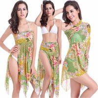 beach cove - 2016 Summer Women Chiffon Beach Dress Sexy Fashion Print Dresses Multi Functional Bikini Cove up Robe Femme Saida de Praia