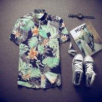 Wholesale 2016 Men Fashion Hawaiian Shirt Summer Beach Style Camisa Masculina Printed Men ShirtCasual Short Sleeve Camisa Plus Size M XL