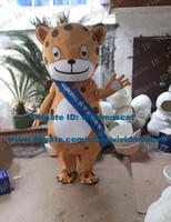 big cheetah - Quick Witted Brown Leopard Panther Pard Cougar Cheetah Mascot Costume Cartoon Character Mascotte Adult Big Eyes NO Free Sh