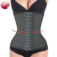 Wholesale Women s Steel Bone Corset Slimming Waist training corsets Underbust cincher waist trainer body shaper Bustier S XXXL Black