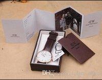 Precio de Gifts-Daniel Wellington DW mujeres del reloj para hombre relojes correa de cuero Nylon Oro Dial Pareja Relojes de pulsera de cuarzo Caja de regalo 2016 del envío libre
