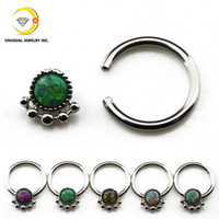 Wholesale Opal Nose Ring Septum Clicker Earring Captive Bead Ring Labret Lip Ring Piercing Jewelry g