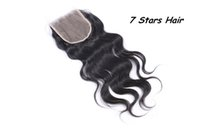 Wholesale Brazilian Human Hair Middle Part Lace Top Closure quot x4 quot Bleached Knots Natural Black Color Body Wave Fast