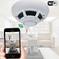 Wholesale HD P WIFI Spy Cam Hidden Smoke Dection Camera Wireless IP Camera DVR Digital Video Recorder Camcorder