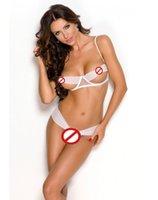 achat en gros de bra and panty set-Adulte Lingerie Sexy Sous-vêtements pour les femmes Ouvrir Ring Buste Détail Top et Panty Black White Bra Top Sets BP6343