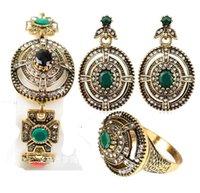 Pendientes de turquesa juego de anillos España-Sistemas de la joyería de la vendimia turco turquesa pendientes de esmeraldas anillo de la pulsera 2016 de envío libre Bijoux Vintage Antique Look