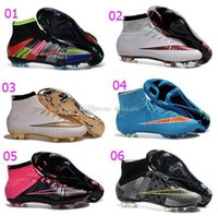 Wholesale New Arrival Top Quality Mens Soccer Cleats Mercurial Superfly FG High Cut Sneakers Laser Orange White Black Football Boots