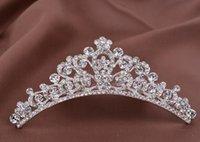 Wholesale 2016 Pretty Baby Bridal Wedding Crystal Rhinestone Crown Heart Crown Pageant Silver Plated Flower Girls Tiaras Hair Comb Headband tiara