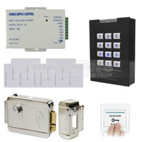 Wholesale DIY RFID KHz ID Card Reader Keypad Access Control System Kit Electronic Lock Power Supply ID Cards