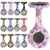 Wholesale 100X Colorful Nurses Doctor Clip on Fob Watch Brooches Silicone Leopard Tunic Batteries Medical Nurse Jelly Hanging Pocket Watch