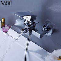 Wholesale Wall bath mixer waterfall faucet square bath shower water tap tub faucet