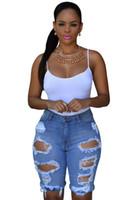 Wholesale 2016 Summer Sexy White Black Denim Destroyed Bermuda Shorts Women Vintage Ripped Hole Plus Size High Waisted Jeans Short Feminino