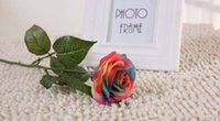 artificial floral designs - 10 cm Rainbow Artificial Roses Real Touch Rose Artificial Silk Flowers Floral Wedding Bouquet Home Party Design Flowers