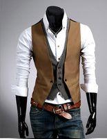 Wholesale 2016 Spring Hot Sale Men s Vest Famous Brand Men Denim Vest Slim Fit Clothing Sleeveless False Two Pieces Vest Suit