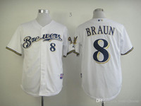 milwaukee - Milwaukee Brewers Braun Mens Baseball Jerseys Grey White Navy Blue Yellow Embroidery Logo MLB Athletic Shirts Cool Base Football Jersey