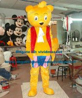 big bear beach - Amiable Yellow Beach Bear Teddy Bear Mascot Costume Cartoon Character Mascotte Adult Big Eyes Round Ears NO