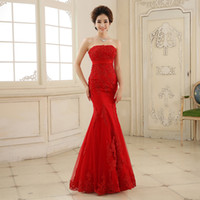 Wholesale 2016 New Forever Layered Mermaid Women s Wedding Dress Sleeveless Lace Wedding Dress Evening Dress Luxury Red