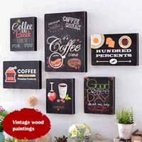 Cheap Retro Wallpaper Wood Painting Cafe Bar Painting Decorative wall Hanging Wall Creative Old Retro Baby Photo Frame Com Perolas Picture GJ50