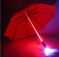 Wholesale 7 colors changing LED luminous transparent umbrella with flashlight function Un paraguas hight quality