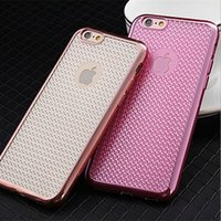 apple grid - Soft Electroplate Sparkling Bling Diamond Grid Pattern Thin TPU Frosted Skin Cover Case For Apple iPhone S Plus inch MOQ