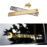 Wholesale 15 cm Silver Gold auto Car Temporary Telephone Number Parking Card Notification Night Luminous Sucker Plate Phone Number Card