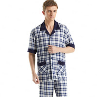 bamboo loungewear - Short Sleeved Men s Sleepwear Classic Plaid Pajama Sets Plus Size Cotton Pyjamas Sleep amp Lounge Mens Sexy Loungewear Casual