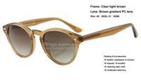 Wholesale Top quality brand new round style acetate sunglasses Clear brown frame brown gradient PC lens women dress gafas de sol