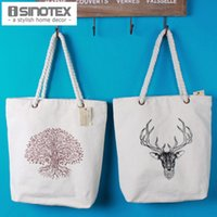 Wholesale Shopping Bag Deer Tree Printed Tote Storage Bags Convenience Women Shoulder Handbags Linen Bag For Vegetable And Fruit