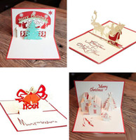 Wholesale Creative Kirigami Origami D Pop UP Greeting Gift Christmas Cards With Christmas Tree Gifts