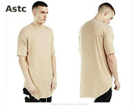 Wholesale Palace T Shir Extend Plain Long T shirt Down Arc T Shirt Kanye West Hip Hop Trasher Tshirt Homme Skateboard Justin Bieber