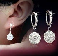 Wholesale Fashion nickel free earrings sterling silver earrings for women Clear Shamballa earrings CZ earrings fine jewelry